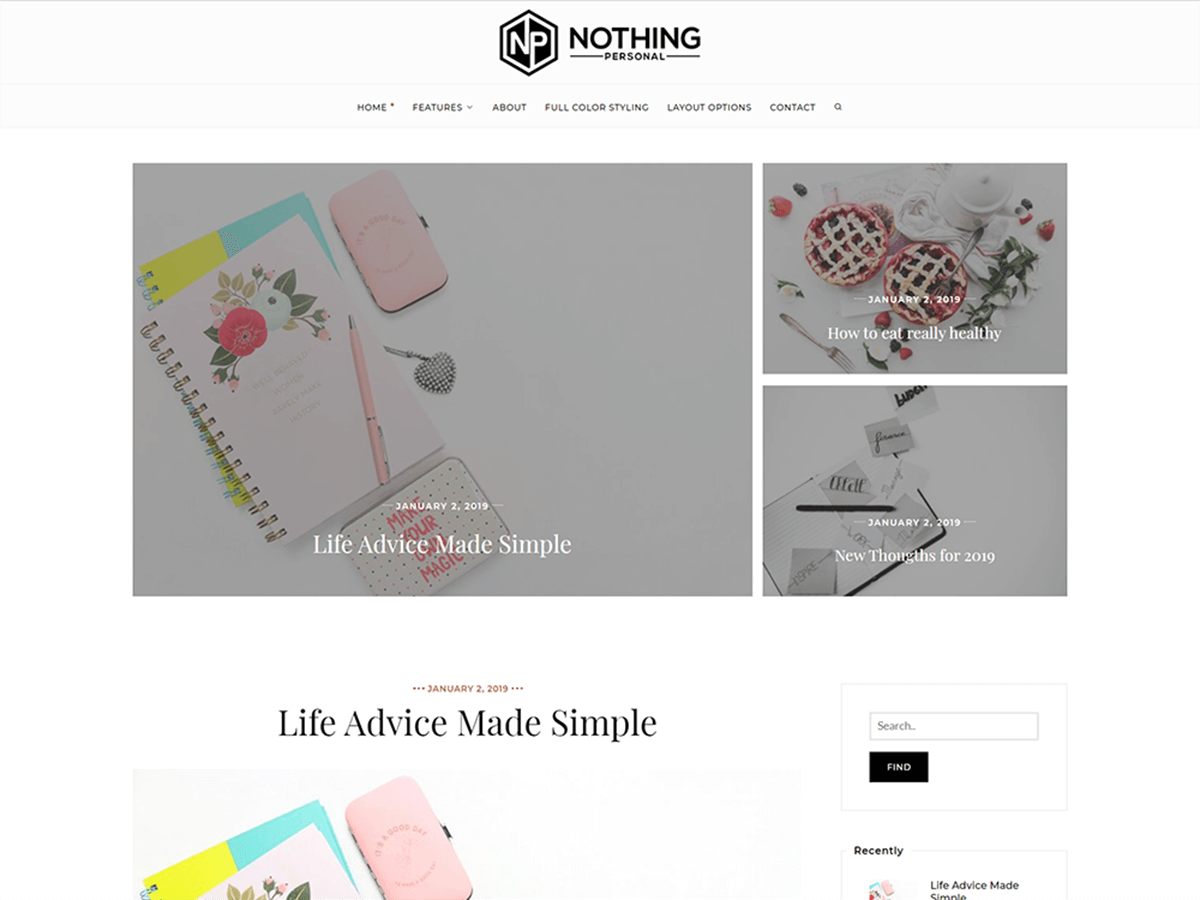 Nothing Personal Blog WordPress Theme